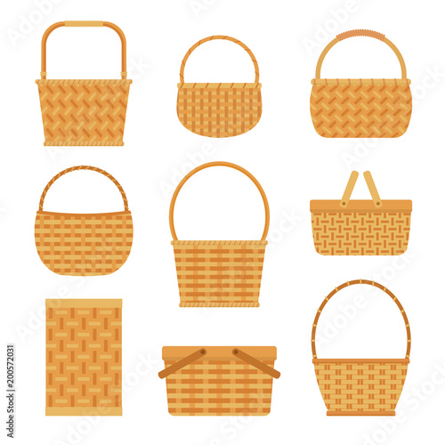 Collection of empty baskets, isolated on white background Fototapeta