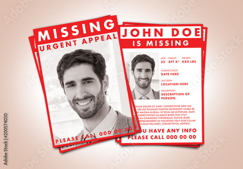 Missing Person Flyer Layout With Red Accents Acheter Ce Template