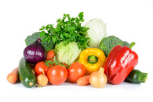 Healthy Eating Concept Or Green Grocery Shopping - Group Of Selected Fresh Vegetables Isolated On White Background In Close-up.