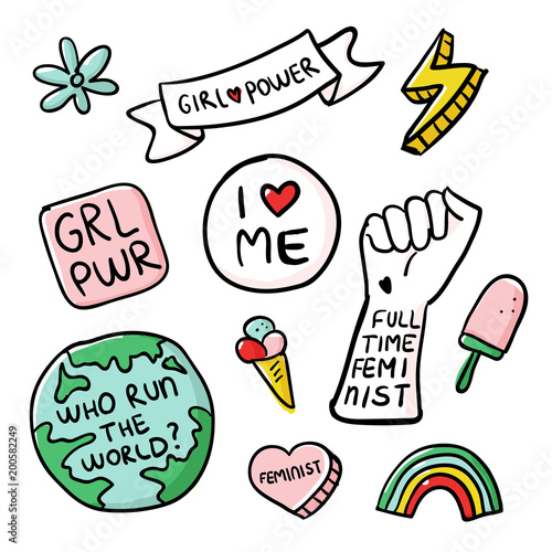 Feminism Slogan And Patches Vector 80s Style Design Retro Pop