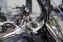 Motorcycles. Close Up Of Steer...