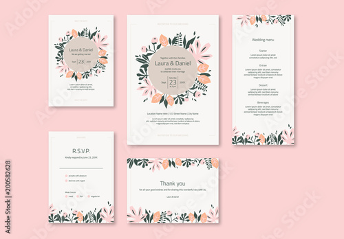 Wedding invitation set with pink and green stylized flowers buy wedding invitation set with pink and green stylized flowers stopboris Images