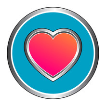 Circular, Metallic Heart (pink/orange Gradient) Icon. Blue Background. Isolated On White