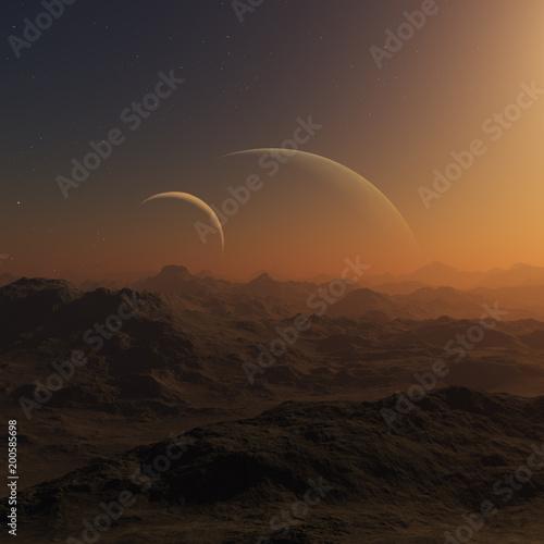Keuken foto achterwand Chocoladebruin 3d rendered Space Art: Alien Planets - A Fantasy Landscape