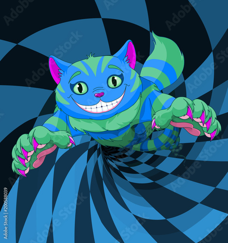 Tuinposter Sprookjeswereld Cheshire Cat Jumping