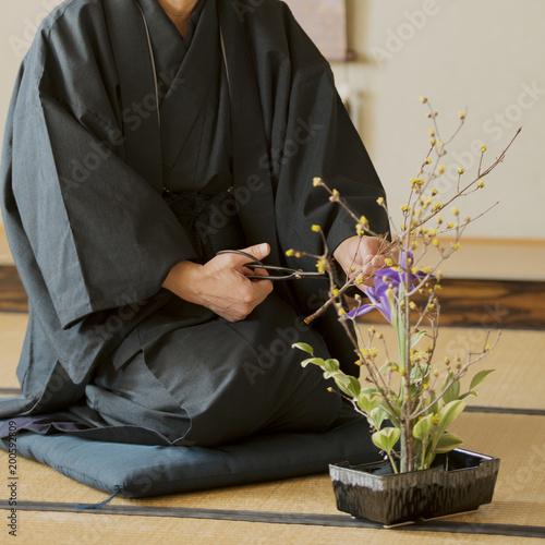 生け花をするシニア男性
