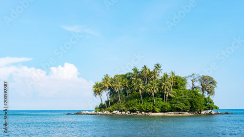 Wall Murals Island small tropical island with sky and clouds in summer season,phuket thailand