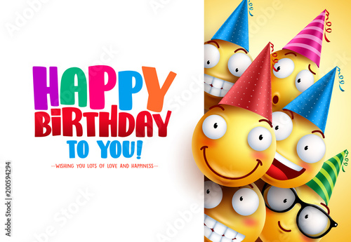 Obraz Smileys birthday vector greeting design with yellow funny and happy emotions wearing colorful party hats and happy birthday text in white empty background. Vector illustration.