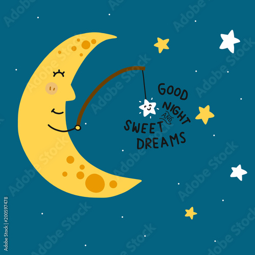 Tuinposter Hemel Good night and sweet dreams moon fishing star cartoon vector illustration