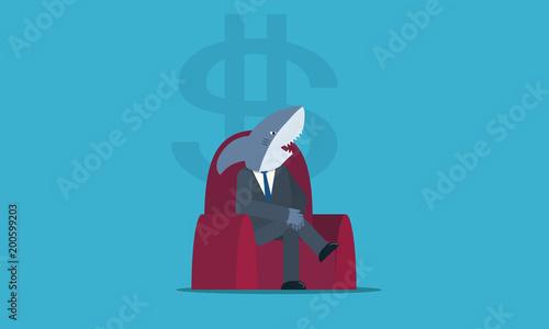 Valokuvatapetti Investidor tubarão querendo dinheiro enquanto senta confortavelmente em uma polt