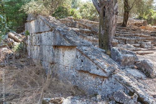 Foto op Aluminium Rudnes Ruins of the ancient amphitheater on the Sideyri island in Turkey