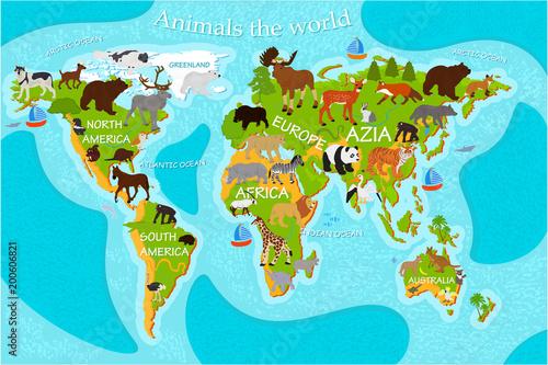Mapa świata zwierząt z nazwami kontynentów