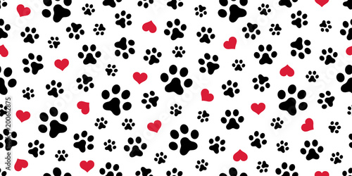 plakat Dog Paw Seamless pattern vector heart isolated scarf valentine wallpaper background