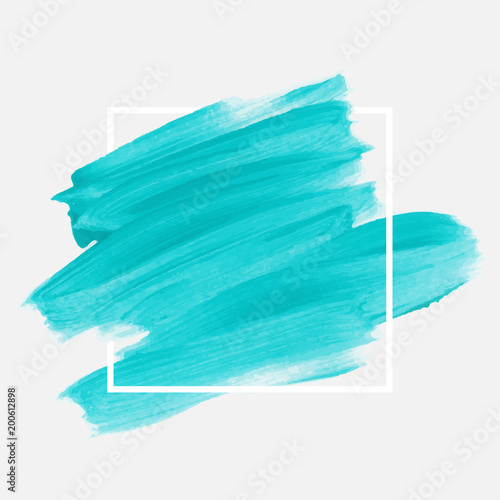 Fotografia Logo brush painted watercolor abstract background design illustration vector over square frame