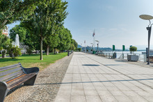 Lake Maggiore, Italy. City Of Arona And Lakefront Promenade. Important Tourist Resort On Lake Maggiore On A Beautiful Summer Day, Piedmont, Province Of Novara