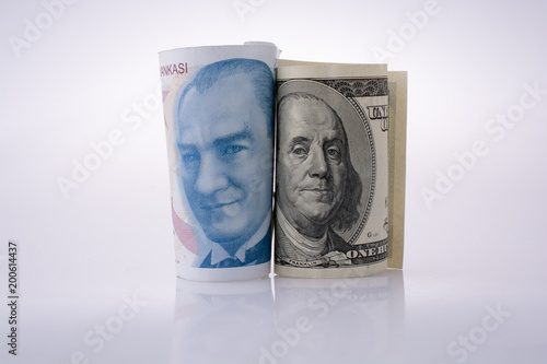 Poster  American dollar banknotes and Turksh Lira banknotes side by side