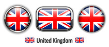 United Kingdom Flag Buttons, 3...