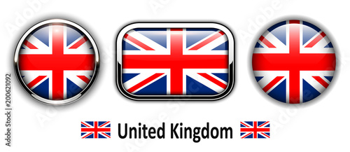 United Kingdom flag buttons, 3d shiny vector icons.