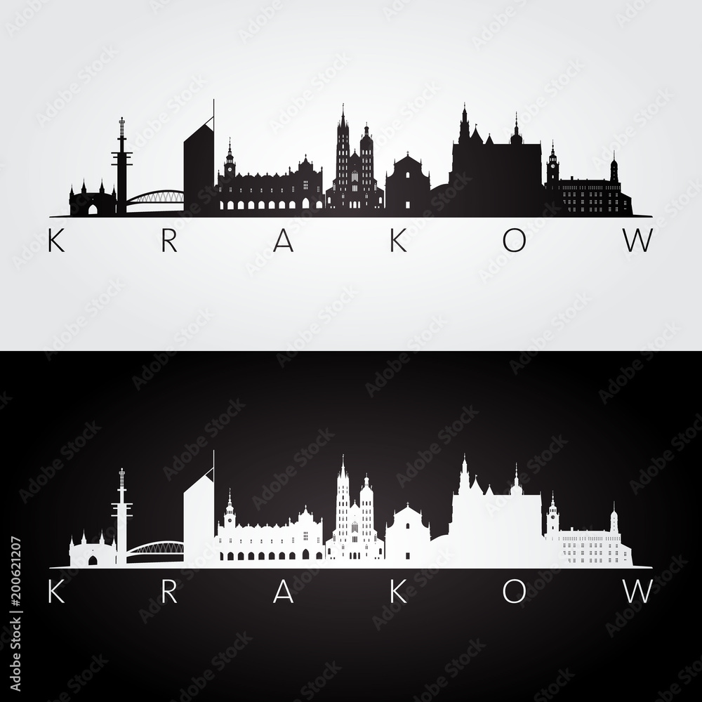 Fototapety, obrazy: Krakow skyline and landmarks silhouette, black and white design, vector illustration.