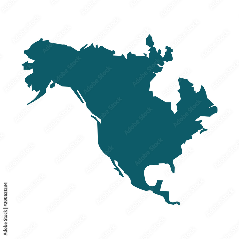 Fototapety, obrazy: North America map vector icon. Flat design