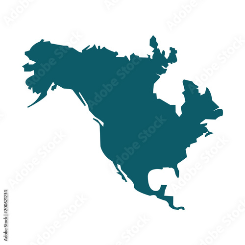 North America map vector icon. Flat design Wall mural