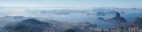 Views to the Rio harbor and Sugar Loaf Mountain from Corcovado in Rio de Janeiro, Brazil.