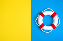 Lifebuoy On A Yellow And Blue ...