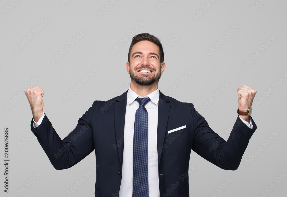 Fototapeta Successful caucasian professional businessman winning