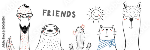 Hand drawn portrait of a cute funny flamingo, sloth, cactus, llama, cat, with text Friends. Isolated objects on white background. Line drawing. Vector illustration. Design concept for children print.