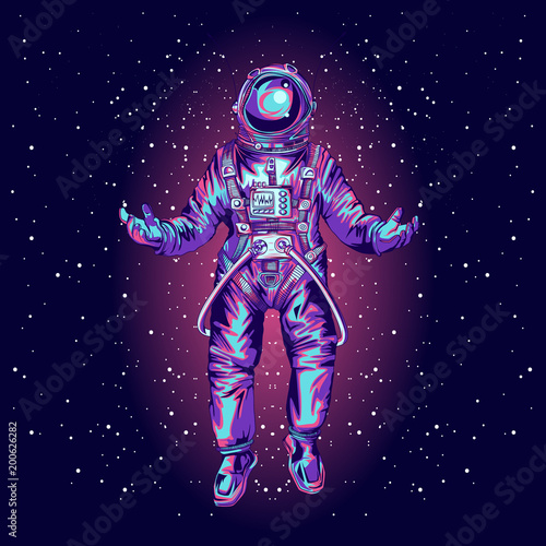 Astronaut in spacesuit on space.