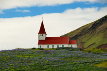 A Small Church On The Shore Of The Icelandic Village Vik