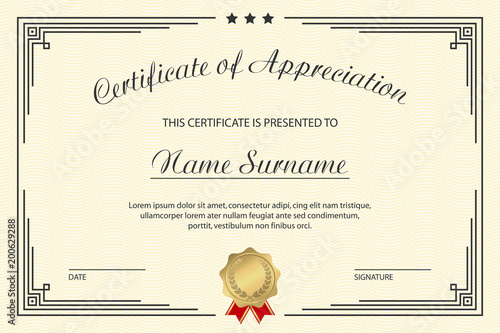 Certificate of appreciation template elegant design for vintage certificate of appreciation template elegant design for vintage diploma with medal and frame vector yelopaper Choice Image