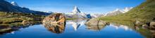 Stellisee Und Matterhorn Panorama In Den Schweizer Alpen