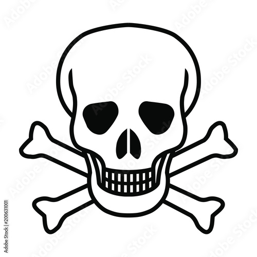 Canvas Print Mortal symbol skull and bones isolated on white background