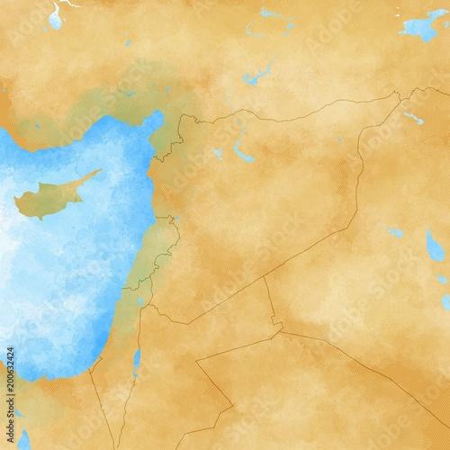 Medio Oriente Cartina Fisica.Cartina Siria E Confini Cartina Fisica Medio Oriente Penisola Arabica Cartina Con Rilievi E Montagne E Mar Mediterraneo Cartina Su Pergamena Cartina Disegnata A Mano Illustration Stock Adobe Stock