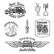 Set of vintage auto service labels