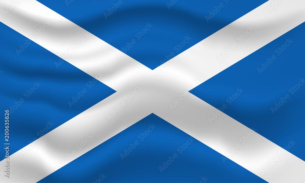 Fototapeta Waving flag of Scotland. Vector illustration for your design.