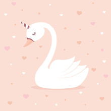 Cute Swan Unicorn On Pink Background. Children's Card Or Shirt Design