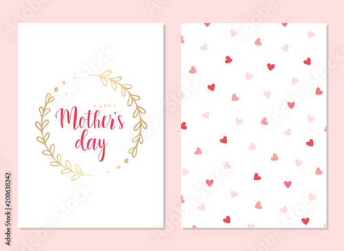 Happy Mothers Day Template Cards Set Vector Greeting Card With