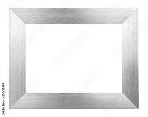Valokuva  Silver brushed metal image frame on white background