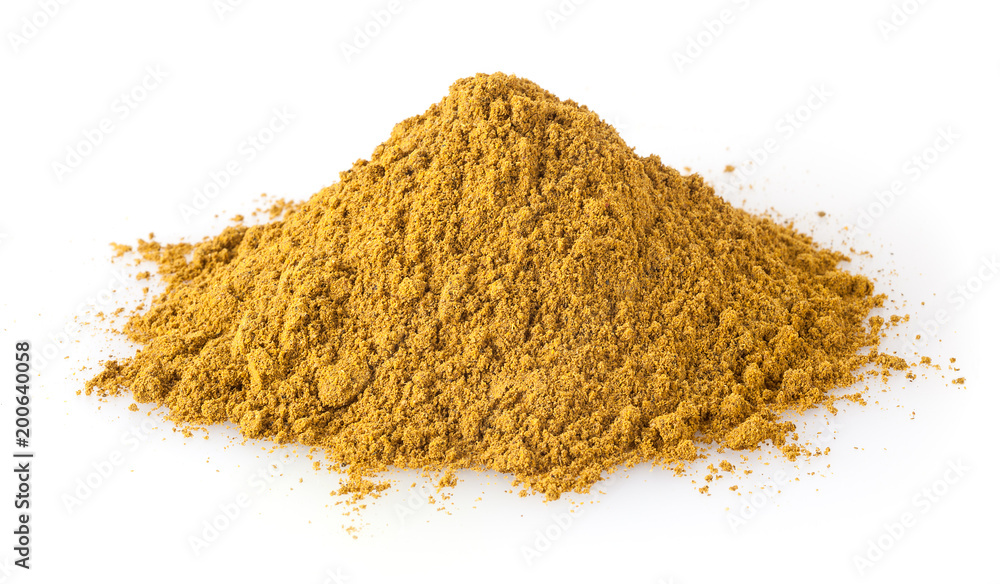 Fototapety, obrazy: Heap of curry powder isolated on white background