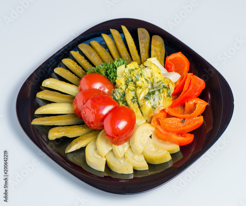 Deurstickers Klaar gerecht Mixed pickled vegetables in black plate