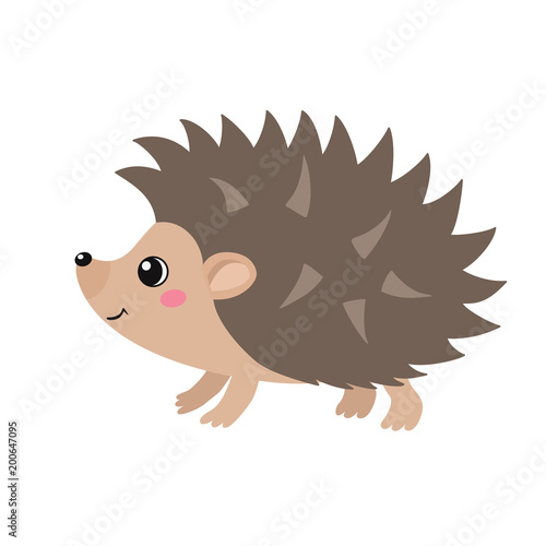 Vector flat illustration of cute hedgehog isolated on white background Poster Mural XXL