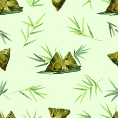 FototapetaSeamless pattern with bamboo leaves and rice dumplings, vector background with seamless texture for print design.