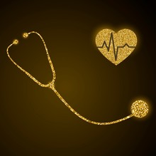 Golden Glittering Stethoscope And Heart With Pulse Trace Vector Illustration