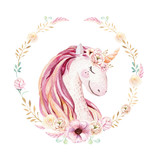 Isolated cute watercolor unicorn clipart with flowers. Nursery unicorns illustration. Princess rainbow poster. Trendy pink cartoon pony horse. - 200655885