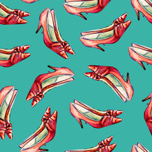 Red Leather Kitten Heel Shoes, Hand Painted Watercolor Illustration, Seamless Pattern On Turquoise Background