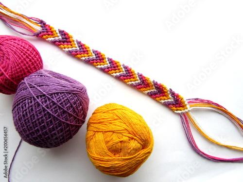Cuadros en Lienzo  Bracelet woven thread colorful friendship bracelet