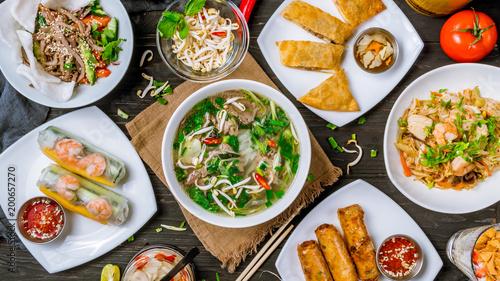 Photo  Assorted asian dinner, vietnamese food