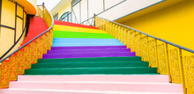 Stair With Steps Painted In Ra...